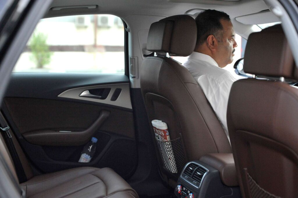 Luxury Audi for rent interior with a driver, driver seat